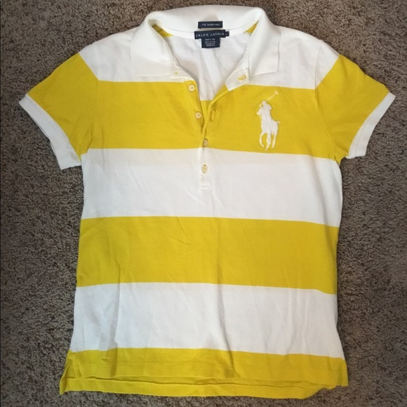bff9f440 Polo yellow and white striped rugby polo, big pony.  M_5a4959f245b30c22620209ae